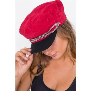 Accessories - RED BRAIDED CABBY HAT